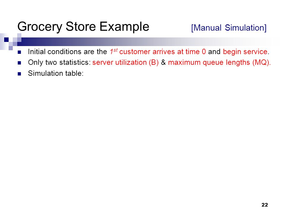 Grocery Store Example [Manual Simulation]